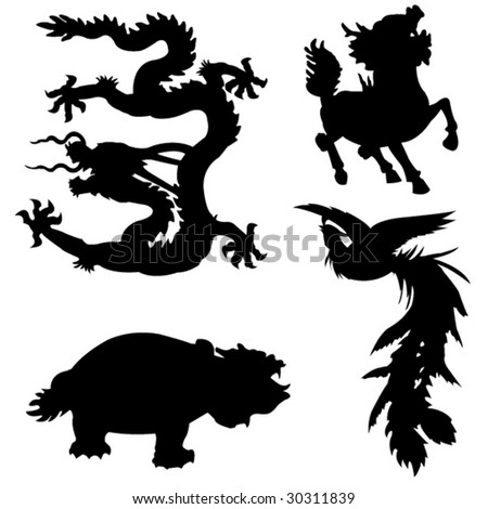 The four ancient Chinese myth of animals - stock vector