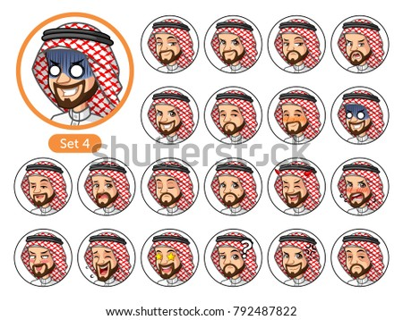 The fourth set of Saudi Arab man cartoon character avatars with different facial emotions and expressions, happy, bored, scary, pervy, uptight, disgust, amaze, silly, mad, etc. vector illustration
