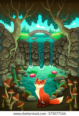 The fox near a pond. Funny cartoon and vector illustration - stock vector