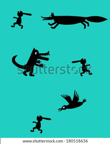 The fox, the wolf and the crow are hunting for a rabbit - stock vector