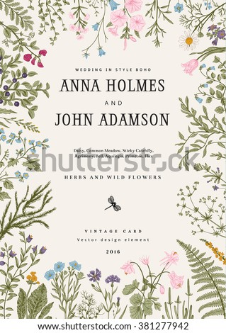 The frame of herbs and wild flowers. Wedding invitation in the style of boho. Vector vintage illustration. Colorful - stock vector