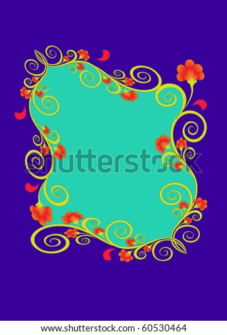 The Frame with pattern on turn blue the background.