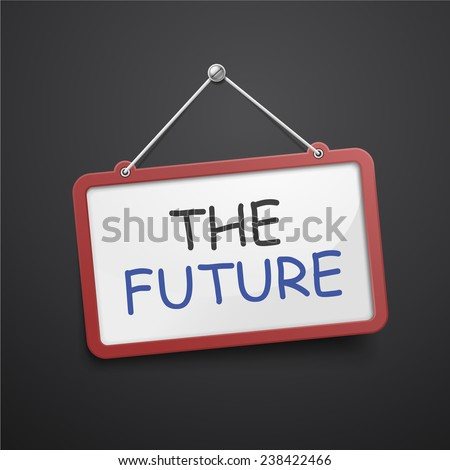 the future hanging sign isolated on black wall