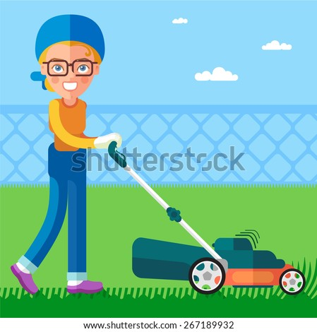 The Garden. Girl using a lawn mower mows the lawn. This is a cartoon character. - stock vector