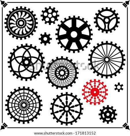 the gears in the style of steam punk. Vector silhouette - stock vector