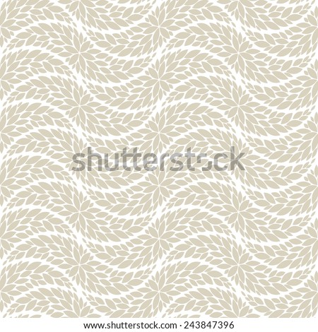 The geometric pattern by leaves . Seamless vector background. Beige and white texture. - stock vector