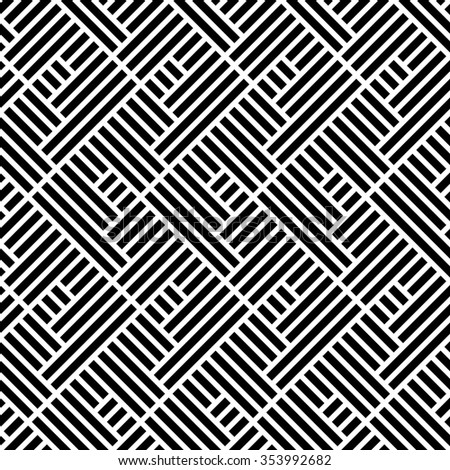 The geometric pattern by stripes  Seamless vector background. Black and white texture.