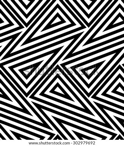 The geometric pattern with lines, stripes. Seamless vector background. Black and white texture. - stock vector