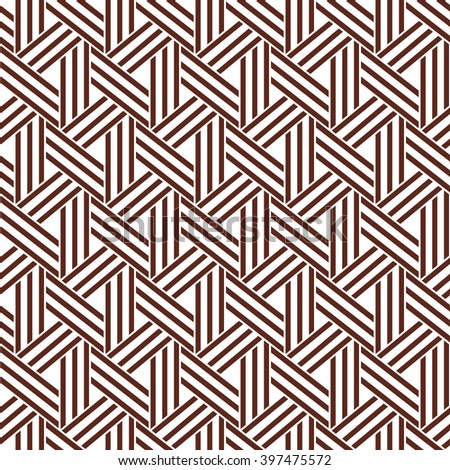 The geometric pattern with stripes and triangles. Seamless vector background. Brown and white texture.