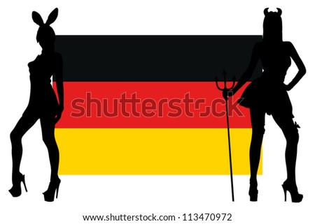 The Germany flag with silhouettes of women in sexy costumes