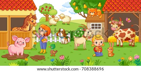 The girl and mother on the farm look after the animals. Children with animals in the farm courtyard vector illustration in cartoon style.