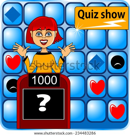 The girl answers the question playing intellectual quiz - stock vector