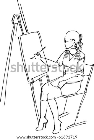 the girl behind the easel