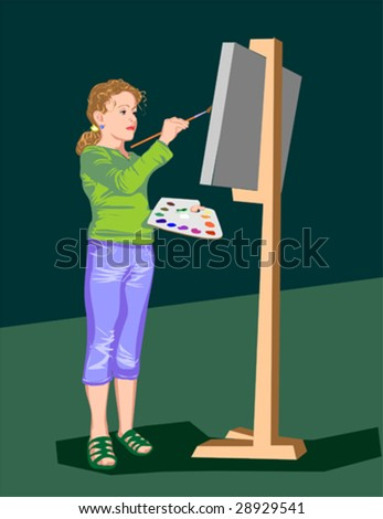 The girl draws paints on an easel
