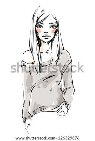 The girl in a sweater - stock vector