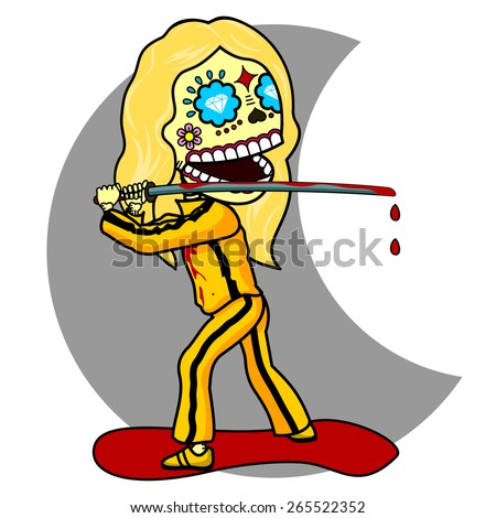 The girl in a yellow tracksuit, bloody samurai sword killer, revenge, a pool of blood - stock vector