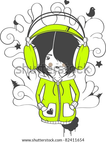 The girl in earphones with patterns - stock vector