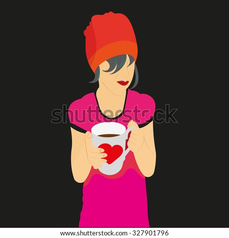 the girl in the hat holding a mug of drink vector cartoon - stock vector