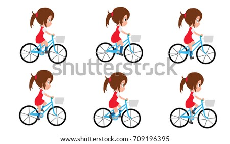 Girl Cycling By Frame By Frame Stock Vector 709196395 - Shutterstock