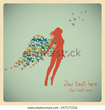 The girl jumping with swarm of birds. - stock vector