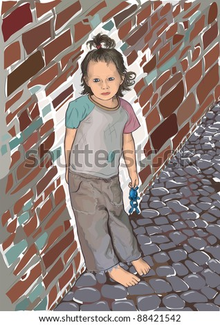 The girl leaned against the wall - stock vector