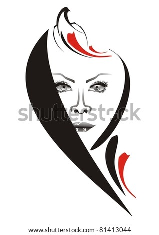 The girl of night. Girl's face with the stylized pigeon.  Vector illustration - stock vector