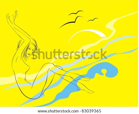 The girl on a beach - stock vector