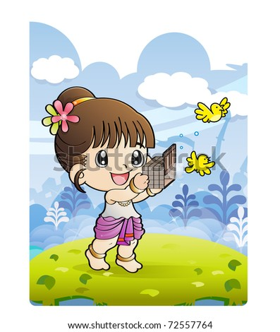 The girl releasing birds from small cage, Thai culture, Releasing  birds at Songkran - stock vector