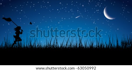 The girl runs on a meadow for butterflies. Night. - stock vector