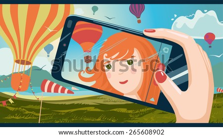 The girl taking photo of herself on a mobile phone. Landscape with balloons in the background. Manga style. - stock vector