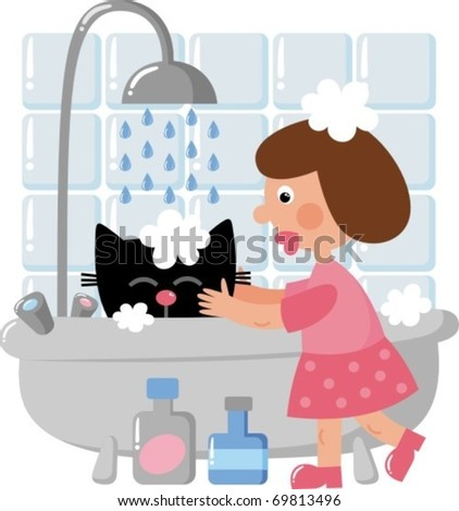 The girl washes the cat - stock vector