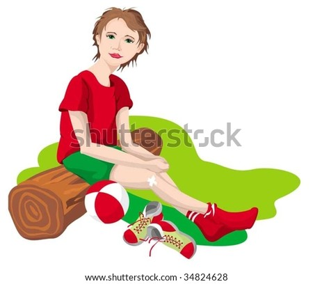 The girl who is having a rest on a tree - stock vector