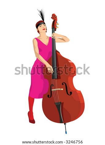 The girl with a contrabass. Vector image.