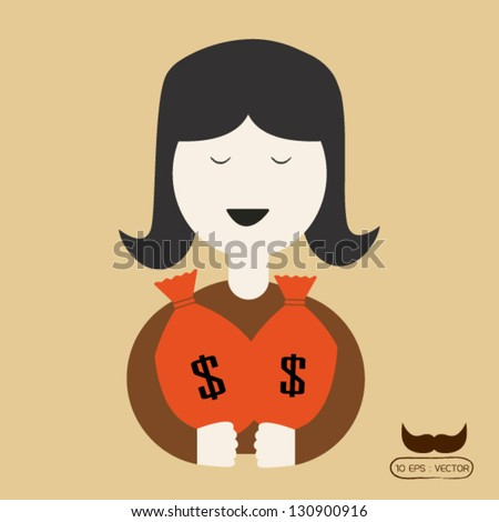 The girls are happy to have money - stock vector