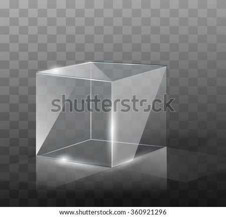 The glass cube on a transparent background with highlights. - stock vector
