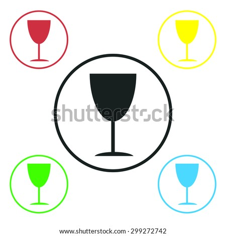The glass flat icon, vector illustration. - stock vector