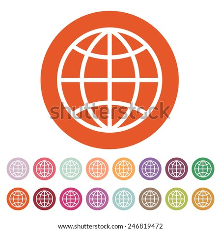 The globe icon. Globe symbol. Flat Vector illustration. Button Set - stock vector