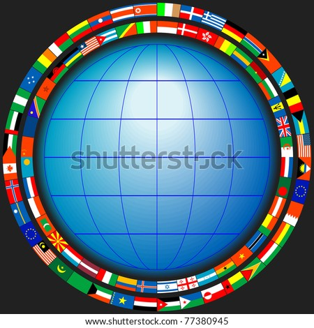 The globe in a frame of flags of the states in a vector - stock vector