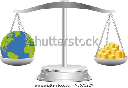 The globe lies in balance on scales together with coins - stock vector