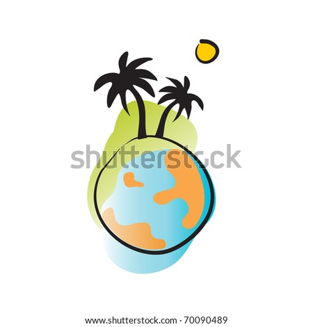 The globe with palms and sun - stock vector