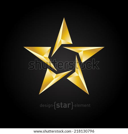 The Gold Abstract vector star on black background - stock vector