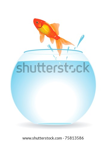 The gold fish jumps out of an aquarium - stock vector