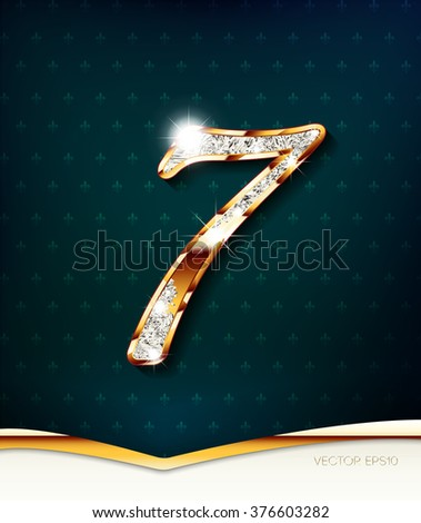 The gold inlaid figure 7 (seven) , with shadow and highlights. eps10 - stock vector