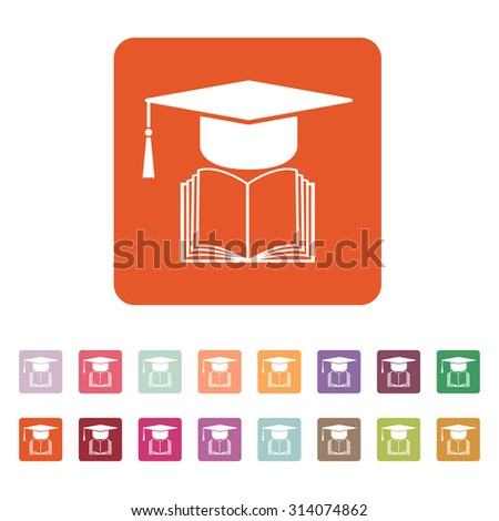 The graduation cap and book icon. School and university, learning, education symbol. Flat Vector illustration. Button Set