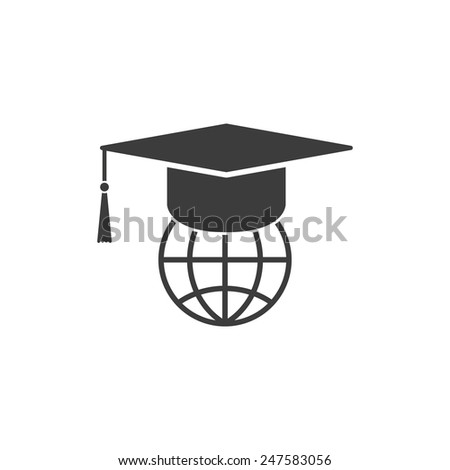 The graduation cap and globe icon. Education symbol. Flat Vector illustration - stock vector