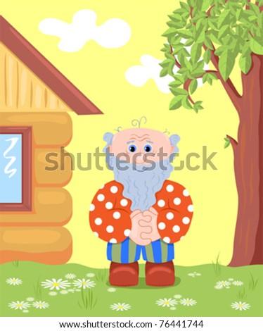 The grandfather on a lawn near the house. Vector cartoon illustration. - stock vector