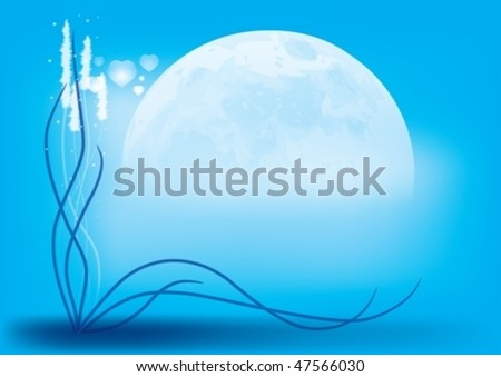 The grass on the background of the rising moon. In the air floating little hearts. - stock vector