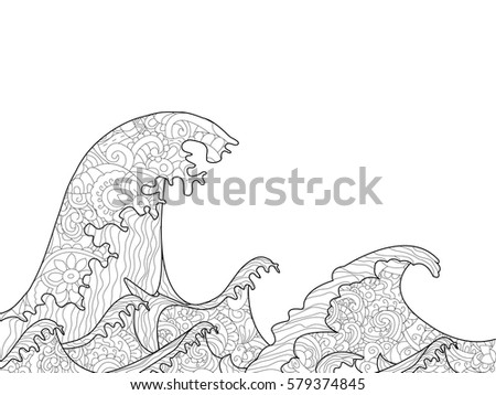 The Great Wave Off Kanagawa Coloring Book For Adults Vector Illustration Anti Stress