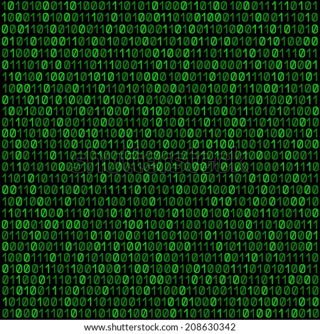 The green code made programming dark background - stock vector