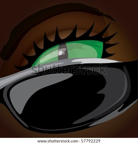 The green eye is looking from behind sunglasses - stock vector